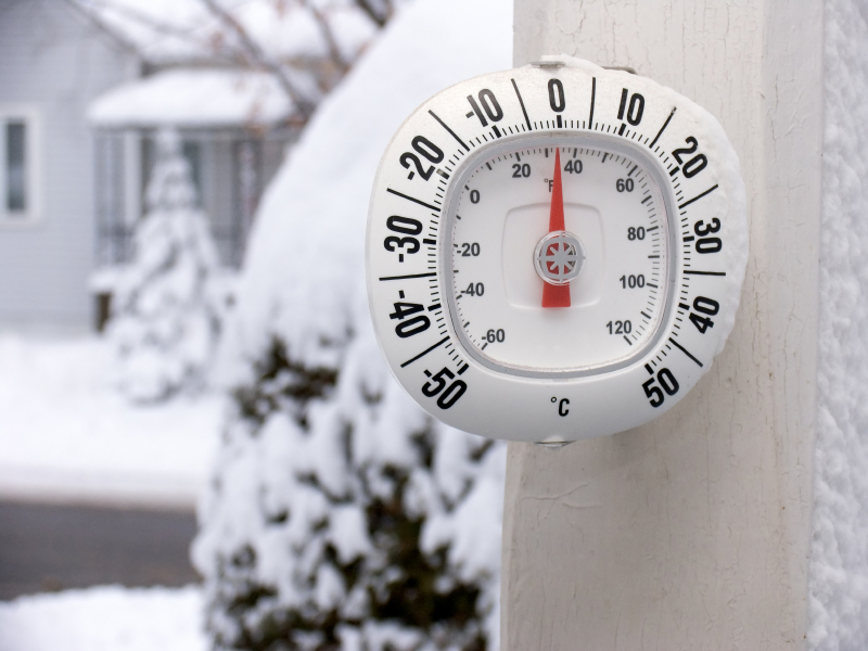 Temperature falls below zero, with lots of snow.