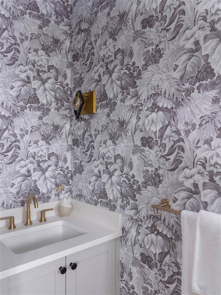 Delicate Black and White Vintage Floral wallpaper in powder room