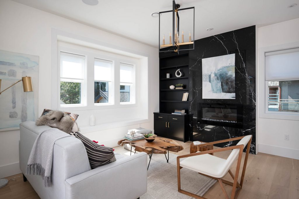 Bold black living fireplace